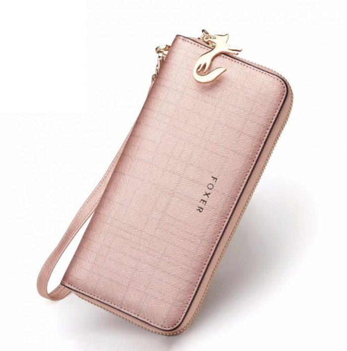 light pink foxer bags wallet for women
