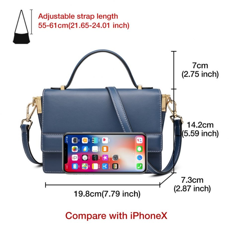 FOXER Bombay Classic Women Leather Crossbody Bags Blue