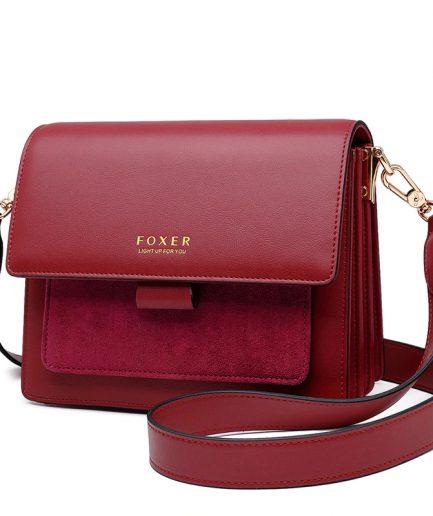 FOXER Frody Women Crossbody Bag leather burgundy