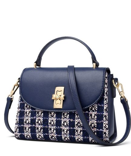 FOXER Naty Soft Patchwork Split Leather Shoulder Bag Blue