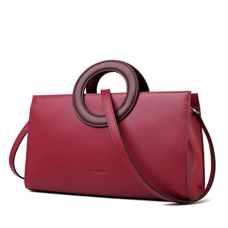 FOXER Parky Lady Leather Tote Dark Pink