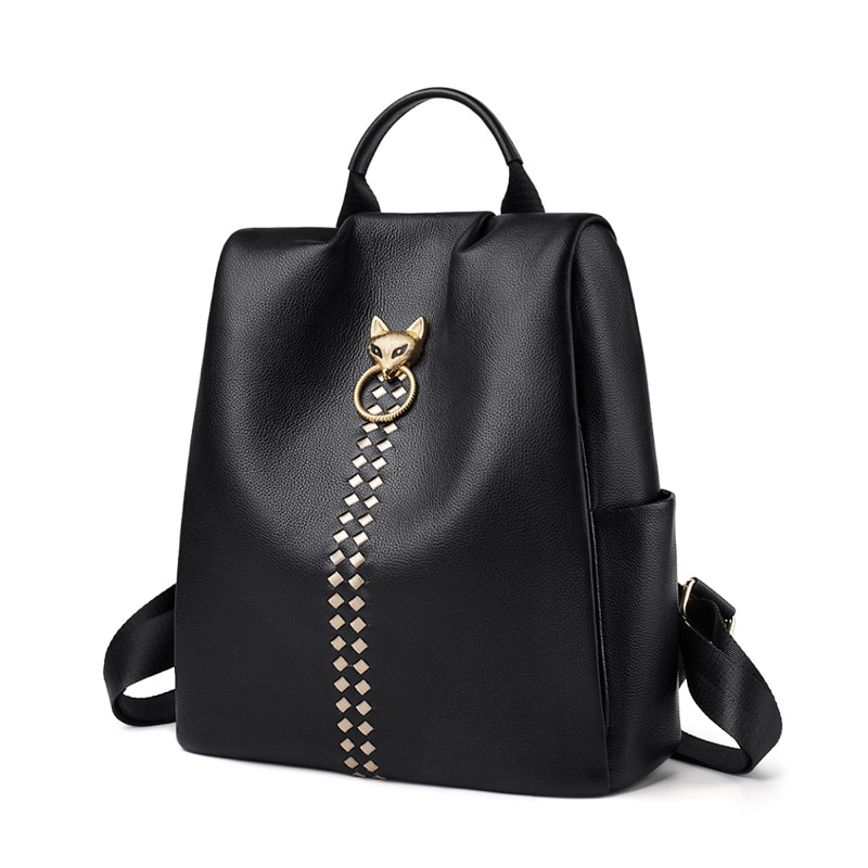 Foxer Zidy Women backpack Cow Genuine Leather Black
