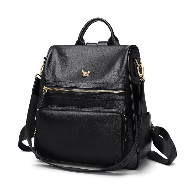 Foxer Laury Leather Backpack Multifunction Women Black