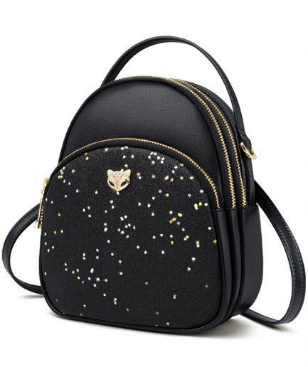 Foxer Gletty Mini Female Backpack Split Leather Black