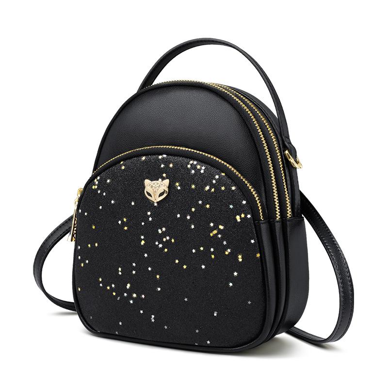 Foxer Gletty Mini Female Backpack Split Leather Black