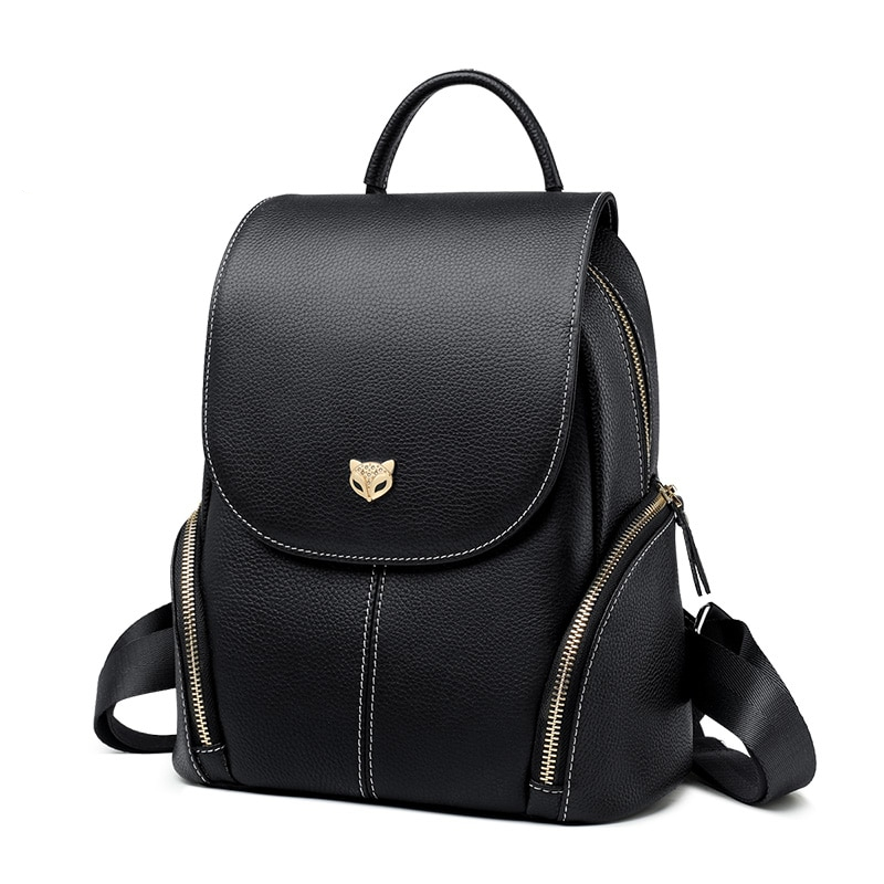 Foxer Britty Leather Women Backpack Large Black