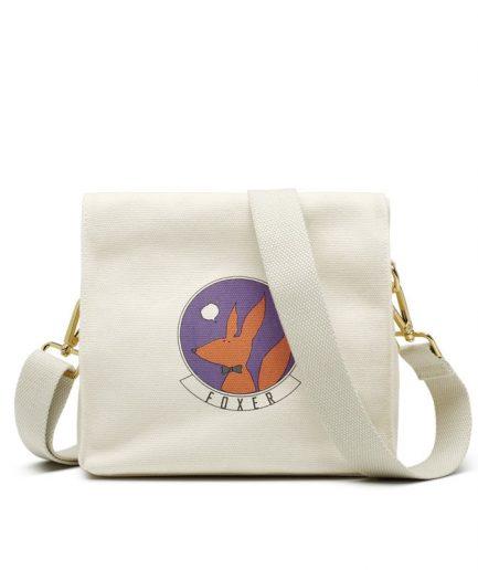 Foxer Shopping Handbag Girls Cloth Bag White