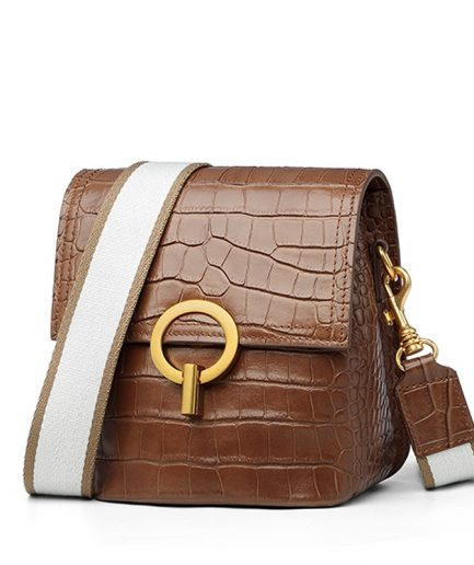 Foxer Crocy Cowhide Leather Women Retro Shoulder Bag