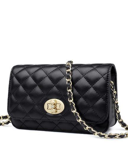 Foxer Egsy Split Leather Female Classical Mini Crossbody Bag Black