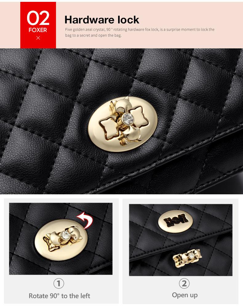 FOXER Lattice Women Bag Designer Chain Shoulder Strap Bag Split Leather Female Classical Mini Crossbody Bags Lady Stylish Bags