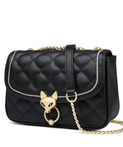 Foxer Diamondy Female Leather Crossbody Bag Black