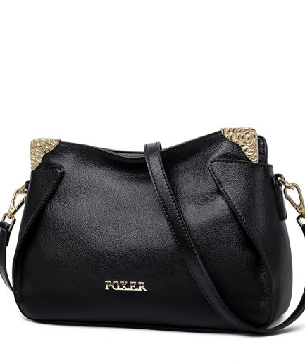 Foxer Royaly Crossbody bag Women Genuine leather Black