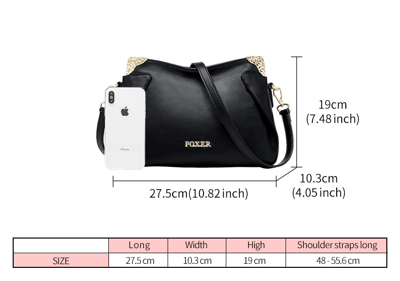 FOXER Brand Female Chic Crossbody bag Women Genuine leather Messenger Bag Lady Fashionable Style Casual Bags