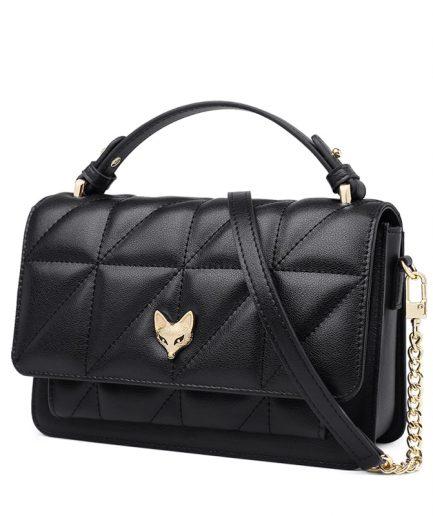FOXER Marty Women Split Leather Messenger Black