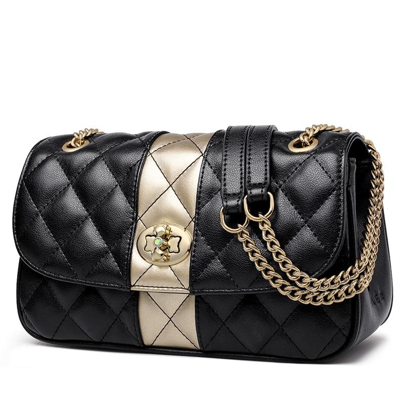 Foxer Phoxy Women Leather Messenger Bag Diamond Lattice
