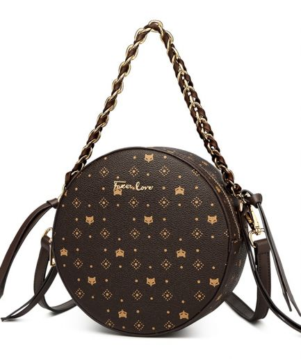 Foxer Signatury PVC Leather Round Shoulder Bag Women